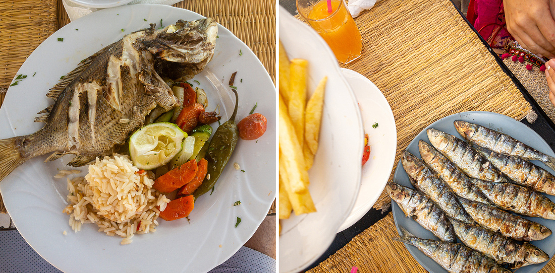 Fish dishes at local restaurants in Essaouira, Morocco